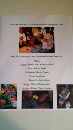 Disney Dinner Night – The Great Mouse Detective – Family Movies Miracle Movie Night For Kids, Dinner And A Movie, Family Movie Night, Detective Movies, Detective Party, Disney Family Movies, Kid Movies, Disney Inspired Food, Disney Dinner