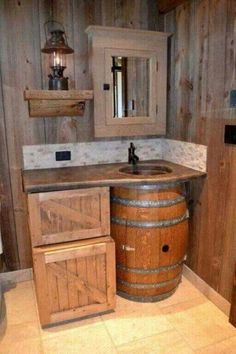Whiskey barrel bathroom sink