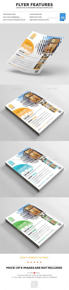 FEATURES: Easy customizable and editable 300 DPI CMYK Print Ready! x with bleed settings) Layered and Full Editable 03 PSD Files with different color variations Help Gu. Real Estate Flyer Template, Psd Flyer Templates, Business Flyer Templates, Print Templates, Business Pens, Business Card Case, Brochure Design, Flyer Design, Page Layout Design