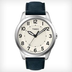 Timex T2N757 Men's Weekender White Dial Cream Edged Navy Blue Leather Strap Stainless Steel Watch,