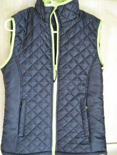 Harve Bernard HB Sport Black Lime Green Quilted Vest s Zip Front Pockets New | eBay