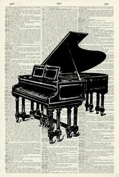 """GRAND PIANO ART PRINT - MUSIC ART PRINT - PIANO ART PRINT - ART PRINT - VINTAGE ART - Vintage Art Print - Illustration - Picture - Vintage Dictionary Art Print -Book Print - Wall Art 361D. This striking illustration is printed on a page from a vintage dictionary. The page has a lovely old age colour to it which gives it a wonderful vintage feel. Size of print/page: Approx - 8.25"""" x 12.25"""" inches This art print would look great framed and would be suitable for any room in the house. There…"""