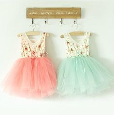 Floral tutu dresses in pink and mint.
