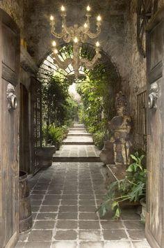 La Casa Dragones in San Miguel de Allende, Mexico, house, courtyard, garden Tree both sides of entry for effect Outdoor Rooms, Outdoor Gardens, Outdoor Living, Outdoor Ideas, Indoor Outdoor, Beautiful Gardens, Beautiful Homes, Beautiful Places, Exterior Design