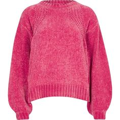 River Island Pink chenille knit balloon sleeve sweater ($72) ❤ liked on Polyvore featuring tops, sweaters, jumpers, knitwear, pink, women, knit jumper, pink jumper, pink crew neck sweater and crew-neck sweaters