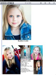 Kaitlyns comp card! The pic in the jean jacket landed her a spot with The Clutts Agency! Love that picture!