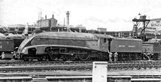 The 'World's Fastest Steam Locomotive' , 'Mallard' with a transitional number, at King's Cross in 1948 - 2283205 - LNER Class 4468 Mallard - Wikipedia, the free encyclopedia Diesel Locomotive, Steam Locomotive, Mallard Train, East Coast Main Line, Milwaukee Road, Steam Railway, British Rail, New York Central, Steam Engine