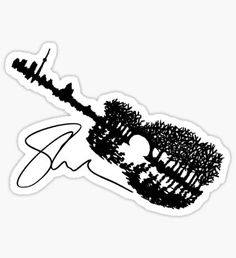 Shawn Mendes Guitar Tattoo & Autograph Sticker