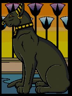 Egyptian Cat Counted Cross Stitch Pattern  by MilesMadXStitcher