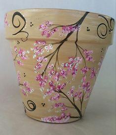 Hand painted flowerpot cherry blossom pot hand painted pot
