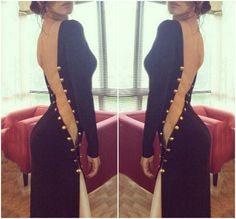 Sexy Black And Gold Maxi Dress VG42218MN