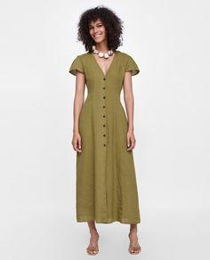 Image 1 of LONG LINEN DRESS from Zara
