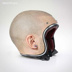 jyo john mullor models a multitude of tailor-made human head helmets – for … - Motorcycle Custom Custom Motorcycle Helmets, Custom Helmets, Bike Helmets, Stormtrooper Helm, Shaved Head Designs, Human Head, Epic Fail Pictures, Helmet Design, Cool Motorcycles