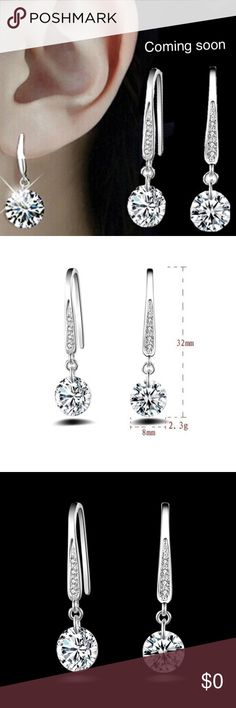 925 Crystal stud dangle earrings High Quality It's a perfect accessory, also a good gift to your friends It will make you beautiful Material:925 Sterling Silver plated +Crystal Jewelry Earrings