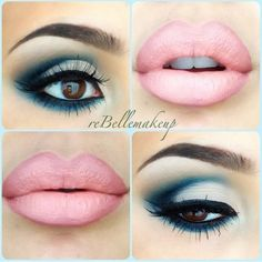 #Makeup ~ love the blue with brown eyes it brings out a deep golden color & the liner with the pale pink lips is a must! I hate it when you see a pretty lipstick color that has smeared out all around the lip itself.