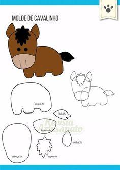 Felt Animal Patterns, Felt Crafts Patterns, Applique Patterns, Stuffed Animal Patterns, Quiet Book Templates, Animal Templates, Farm Animal Birthday, Horse Pattern, Felt Quiet Books