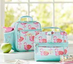 Mackenzie Aqua Flamingo Lunch Bags - Pottery Barn Kids
