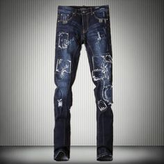71.00$  Buy now - http://aliexn.worldwells.pw/go.php?t=32715105151 - Plus Size Men's Jeans Korean Slim Pants Patch Young Men Long Casual Personality Trousers Male Clothing Singer Stage Costume 71.00$