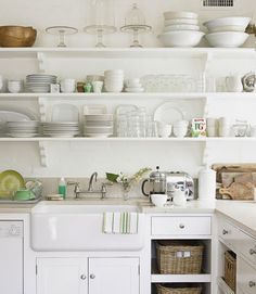 open kitchen cabinet ideas best open shelves images on home ideas kitchen dining living and kitchen ideas open plan kitchen design images Kitchen Shelves, Kitchen Dining, Kitchen Decor, Kitchen Cabinets, Open Cabinets, Kitchen Ideas, Wood Shelves, Kitchen White, White Shelves