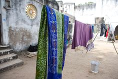 Beautifully hung textiles in India.