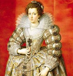 Anne of Austria 1601-1666- transitioning from Elizabethan huge French farthingale and long skinny bodice to Cavalier cuffs, mantle and exaggerated paned sleeves