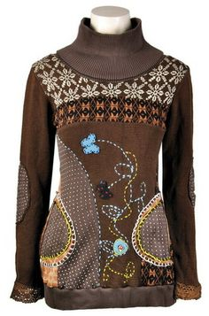 Savage Culture: Embroidered Jacquard Wool Sweater Tunic, only on wildcurves.com!
