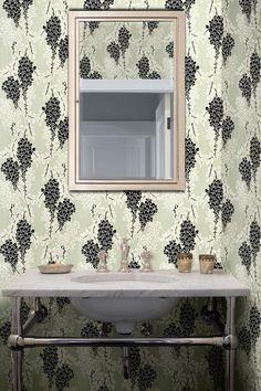 Farrow & Ball Wisteria wallpaper in bathroom