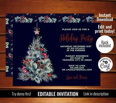 Editable Christmas Tree Invitation, Tree Christmas Party Invitation, Printable Holiday Invites #christmas #invitations Christmas Place Cards, Christmas Tree, Christmas Party Invitations, Text Color, Printing Services, Party Planning, Invites, Rsvp, Printable