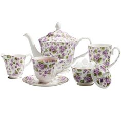 Coastline Imports Violet Tea Set : Bone China