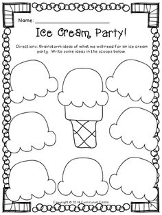 FREEBIE!!! Let's plan an ice cream party! Ice cream scoop graphic organizer.