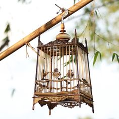 Wood Bamboo Bird Cage 11x11x18 and Hook 9H Inch Experience the beautiful pattern