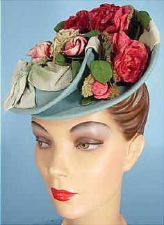 "c. 1939 I. Magnin & Co., Importers Light Turquoise Blue Felt ""Doll"" or ""Toy"" Tilt-Top Hat Teeming in Roses!"