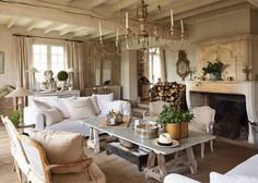 Gorgeous French Country Farmhouse living/neutral and creme tones ...