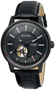Bulova Men's 98A139 Automatic Analog Display Japanese Quartz Black Watch