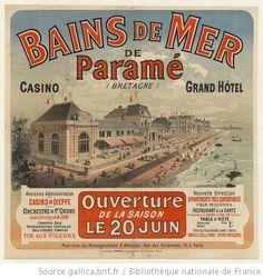 Bains de mer de Paramé (Bretagne), Grand Hôtel, ouverture de la saison le 20 juin ... : [affiche] / [non signée] - 1