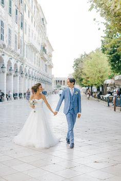 Bride and groom walking through Liston square in Corfu while post ceremonial portraits Corfu Wedding, Greece Wedding, Corfu Island, Island Weddings, Greek Islands, Old World, Hair Makeup, Groom, Delicate