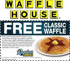 Waffle House coupons & Waffle House promo code inside The Coupons App. Free bacon at Waffle House May Shopping Coupons, Free Coupons, Shopping Deals, Free Baby Samples, Waffle House, Free Food, Waffles, Bacon, Treats