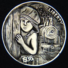 """Hobo Nickel """"Little John"""" by """"Jorge Romero"""". Hobo Nickel, Coin Art, Metal Clay Jewelry, Antique Coins, World Coins, Coin Collecting, Hand Engraving, Art Forms, Metal Art"""