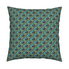 Catalan Throw Pillow featuring RHINOCEROS EYE WINK TURQUOISE TEAL by paysmage…