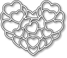"""Layered Hearts - $8.49 Layered Hearts by Impression Obsession is an American-made steel die which can be used in most die-cutting machines. Great for Valentine's or wedding cards or just that special someone! Approximately 2 1/2"""" tall and 2 3/4"""" wide."""