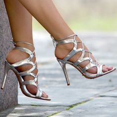 What's Hot. Schutz Silver Leather Heels – Dubiana