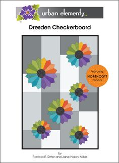 Dresden Chckerboard - Pattern -- I love the look of the multi-sized Dresden Plates, on a scrappy(?) background of large patchwork!