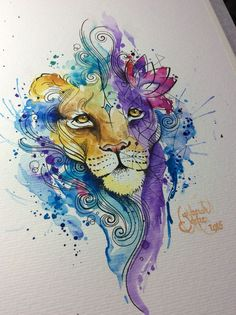 nice Watercolor tattoo - Watercolor Lion, for a tattoo. Artist: Deborah Deh Soares. Studio Lotus Tattoo,...
