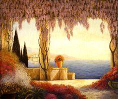 French Art Deco Seascape by XAVIER SAGER ca.1920 - http://www.artdecoceramicglasslight.com
