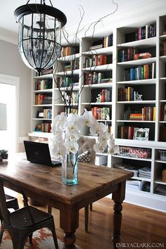 Emily A Clark --- man oh man I love everything about this dining room turned office