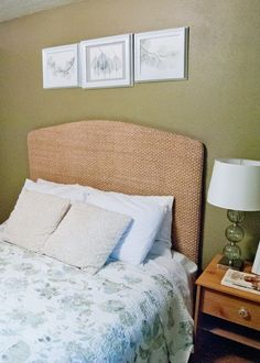 Pottery Barn Knock-Off: Seagrass Headboard – Preciously Paired Seagrass Headboard, Seagrass Rug, King Size Quilt, Quilt Batting, Diy Vanity, Pottery Barn, New Homes, Guest Room, House Design