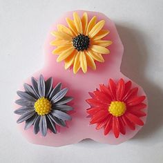 Tint Three Holes Sunflower Silicone Mold Fondant Molds Sugar Craft Tools Resin flowers Mould For Cakes ** Click image to review more details.