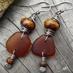 Handcrafted ceramic and sea-glass earrings by Cindy's Art & Soul Jewelry