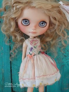 """Blythe doll outfit """"Wild flowers"""" grunge chic vintage embroidered dress by marina, $58.00 USD"""