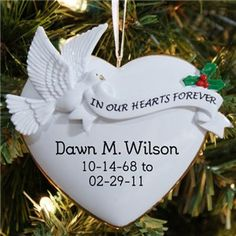 In Our Hearts Personalized Christmas Tree Memorial Ornaments Personalized Ornaments, Personalized Christmas Ornaments, Christmas Tree Ornaments, Personalized Gifts, Christmas Crafts, Christmas Decorations, Christmas Goodies, Homemade Christmas, Christmas Ideas